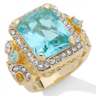 117 891 susan lucci susan lucci simulated aqua and clear crystal ring