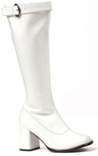 Ellie Shoes Sexy Knee High Boot Zipper and Buckle White 3 Heel 300