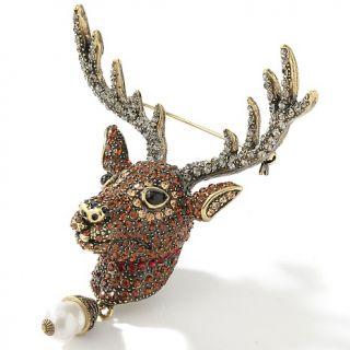 Heidi Daus Rudy Crystal Accented Reindeer Pin