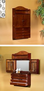 Armoire Cabinet   Wooden Wall Mount Compact Jewelry Armoire Organizer