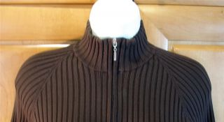 Fabrizio Gianni Brown Ribbed Zip Front Silk Wool Sweater L