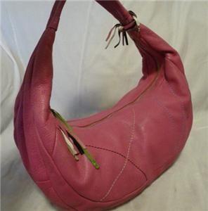 Elliott Lucca Pink Tone Leather Hobo Handbag Shoulder Bag