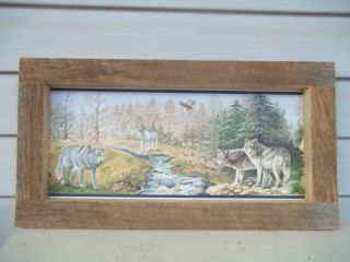 Wolf wolves eagle stream lodge cabin southwestern decor rustic framed