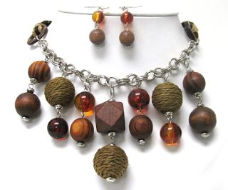 MIXED WOOD BALLS BEADED & FACET GLASS BEADS DANGLE LONG NECKLACE