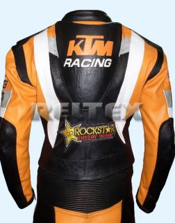 RTX Violator Sport KTM Racing Orange Motorcycle Cowhide Leather Jacket