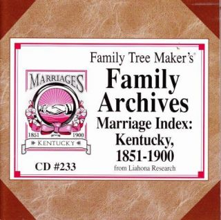 Family Tree Maker Family Archives Marriage Index Kentucky 1851