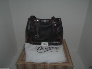 Brighton Elsbeth Retired Shoulder Bag Black Brown PEBBLED Leather EUC