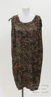Etoile Isabel Marant Black Cream Orange Print Silk Shoulder Tie Dress