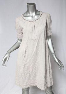 Etoile Isabel Marant Pale Grey Cotton India Dress Lace Accent Ruffle
