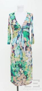 ETRO Multicolor Floral Print Jersey V Neck Dress Size 44