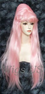 Wigs Pink Red Blonde Purple Extra Long Cone Beehive with Bangs Costume