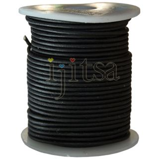 2mm Round Matte Black Genuine Leather Cord 25 Metters Spool