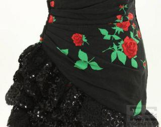 Emanuel Ungaro Vintage Black Rose Print & Sequin Lace Trim Dress