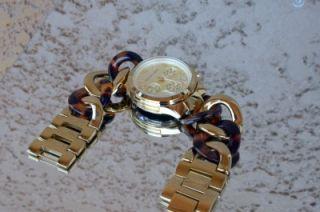 Michael Kors Faux Tortoise Twisted Bracelet Chronograph Watch MK4222