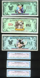 Group Lot 3 Disney Dollar Notes Euro Mickey Coupons