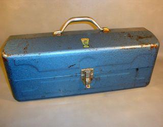 Vintage My Buddy 292 Fall City Metal Steel Fishing Tackle Box Cork
