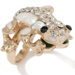 157 433 justine simmons jewelry crystal and enamel goldtone frog ring
