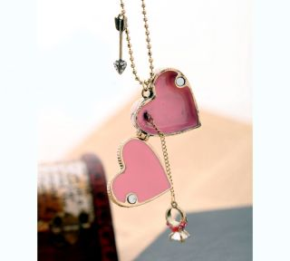 Antique Girls Necklaces Fashion Pink Heart Pendant Bronze Beaded
