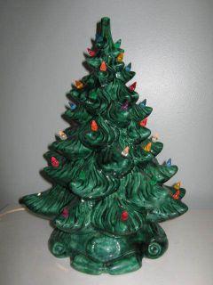 ceramic vintage lighted Christmas tree green marked Jill 1982