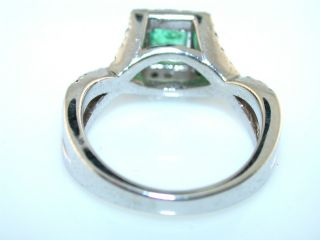 Fabulous Emerald Cut Emerald Diamond 14kt White Gold Ring