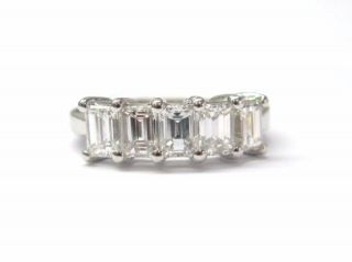 Fine 5 Stone Emerald Cut Diamond Anniversary Ring 2 71C