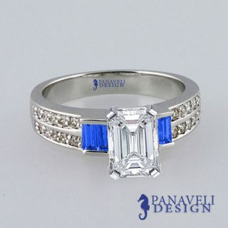 00 Ct Emerald Cut Diamond Blue Sapphire Engagement Ring Platinum G H