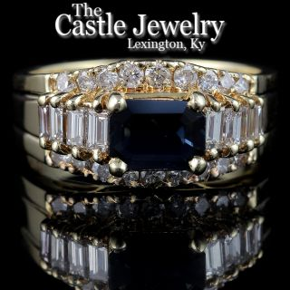 Diamond Accented Emerald Cut Sapphire Ring 75 cttw Crafted in 14k Gold