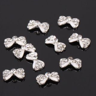 10 Pcs Glitter Bow Tie Alloy 3D Clear Rhinestone Nail Art Slices DIY