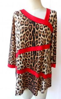 Eva Varro Leopard Print Tunic Asymmetric Neck Red Trim 1x $138