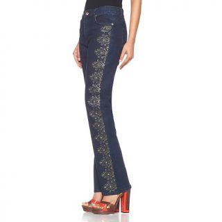 Diane Gilman DG2 Goldtone Studded and Embroidered Boot Cut Jeans