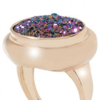 Jewelry Rings Gemstone Technibond® Oval Drusy Quartz East/West