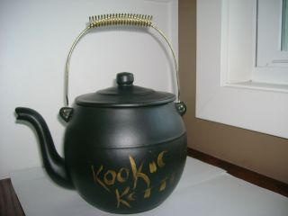 Vintage McCoy Cookie Jar Kookie Kettle Black Pottery Tea Pot