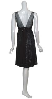 Nicole Miller Black Metallic Brocade Eve Dress 6 New