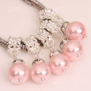 5P Pink Faux Pearl Dangle European Beads Fit Bracelet