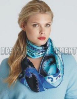 Emilio Pucci Aqua Blue Delft Long 12 5x67 Silk Crepe Scarf Authentic
