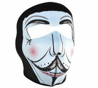 Reversible Motorcycle Biker Ski Neoprene Face Mask Guy Fawkes Vendetta