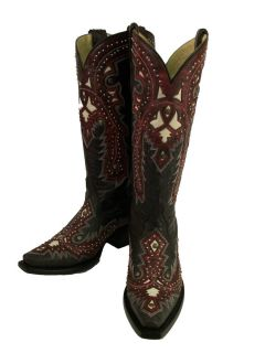 Ladies Corral Boots G1035 Black Red Overlay with Studs Western Free
