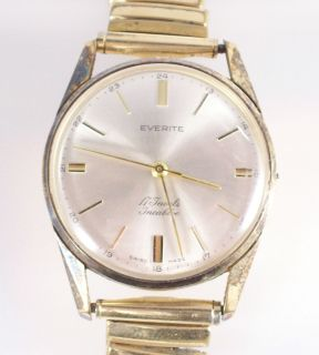 Vintage Everite Gold Plated Mens Wristwatch 17j Incabloc Swiss 971519