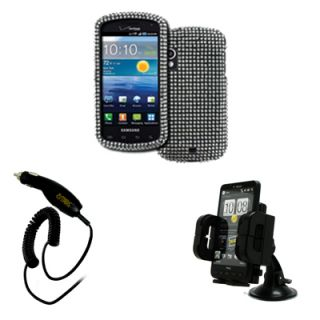 Empire Silver Bling Case Phone Mount Car Charger for Samsung