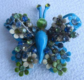Colorful Enamel Rhinestone Flower Butterfly Pin Brooch RARE