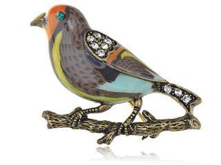 Crystal Rhinestone Enamel Sparrow Bird Costume Jewelry Pin Brooch