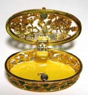 RUCINNI Gold Plated Filigree Enamel Trinket Box Butterfly Bee