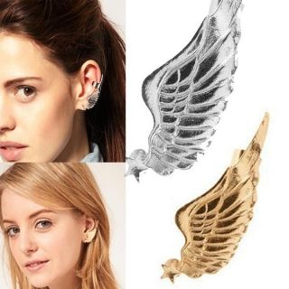 New Fashion Star Angel Wing Ear Studs Cuff Clip Women Gothic Punk Rock