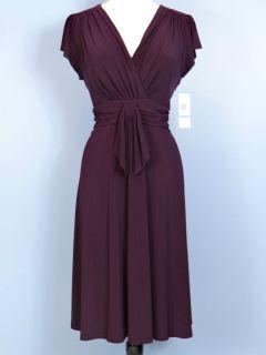 New Evan Picone Short Sleeve Jersey Fit Flare Dress V Neck Knee Purple