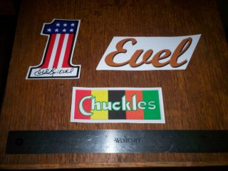 EVEL KNIEVEL HELMET VINYL DECAL SET + 3 Evel Knievel stickers. FREE
