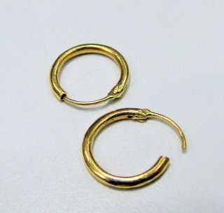 Vintage 22 K Solid Gold Hoop Earrings Pair