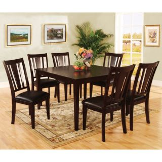 Traditional Solid Wood Espresso Finish 7 Piece Dining Set