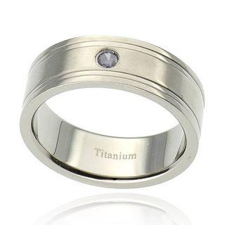 Grooved Satin Round Alexandrite Simulated Titanium Wedding Ring Sz 11