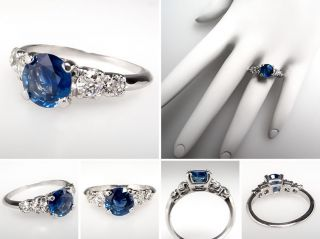 Blue Sapphire & Diamond Engagement Ring Solid Platinum Fine Estate