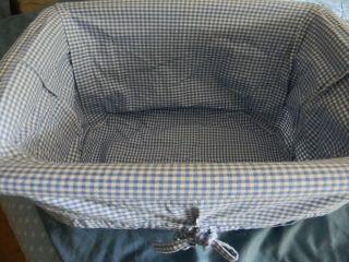 Basket liner Pottery Barn blue gingham check fits laundry basket 22 x